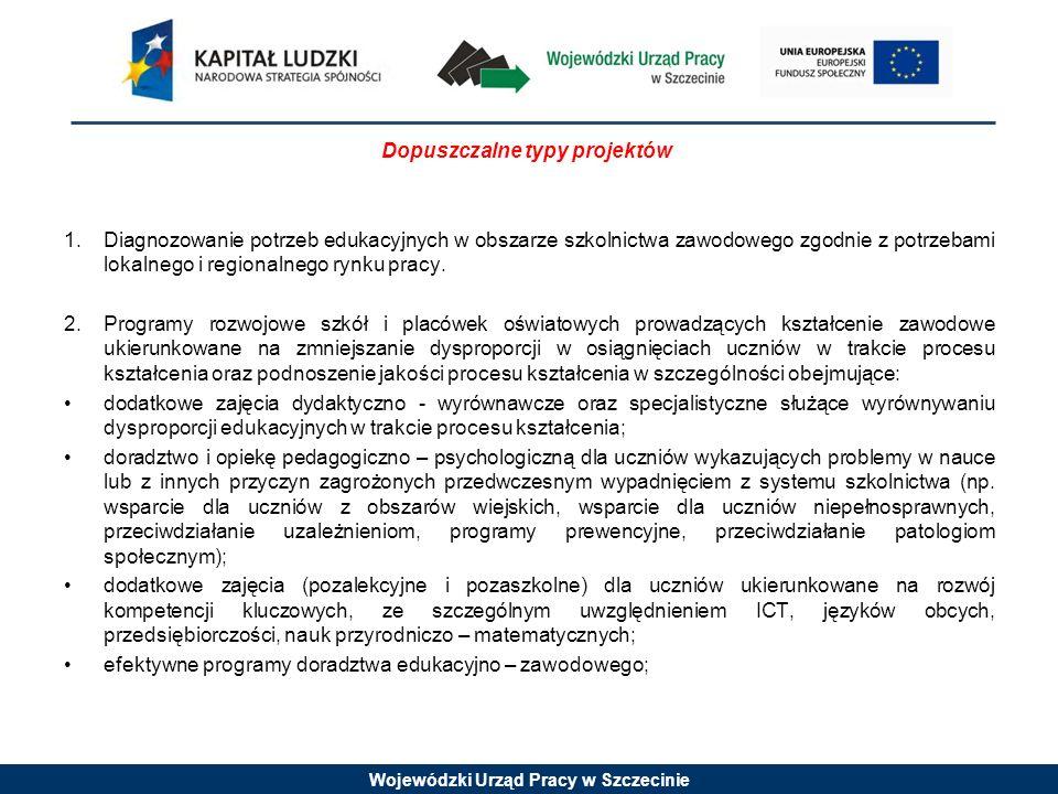 Wojewódzki Urząd Pracy w Szczecinie Dopuszczalne typy projektów 1.Diagnozowanie potrzeb edukacyjnych w obszarze szkolnictwa zawodowego zgodnie z potrzebami lokalnego i regionalnego rynku pracy.