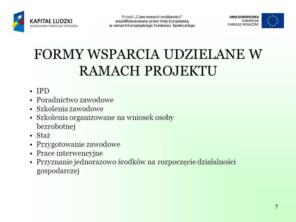 7 FORMY WSPARCIA UDZIELANE W RAMACH PROJEKTU IPD Poradnictwo zawodowe Szkolenia zawodowe Szkolenia organizowane na wniosek osoby bezrobotnej Staż Przygotowanie zawodowe Prace interwencyjne Przyznanie jednorazowo środków na rozpoczęcie działalności gospodarczej Projekt Czas nowych możliwości współfinansowany przez Unię Europejską w ramach Europejskiego Funduszu Społecznego