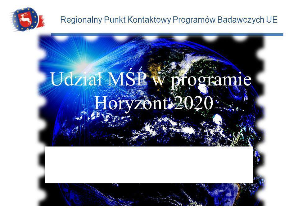 Regionalny Punkt Kontaktowy Programów Badawczych UE 16 kwietnia 2014 r. Udział MŚP w programie Horyzont 2020