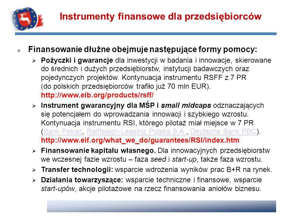 Finansowanie dłużne obejmuje następujące formy pomocy: Pożyczki i gwarancje dla inwestycji w badania i innowacje, skierowane do średnich i dużych prze