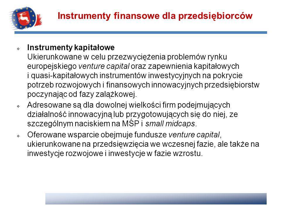 Instrumenty kapitałowe Ukierunkowane w celu przezwyciężenia problemów rynku europejskiego venture capital oraz zapewnienia kapitałowych i quasi-kapita