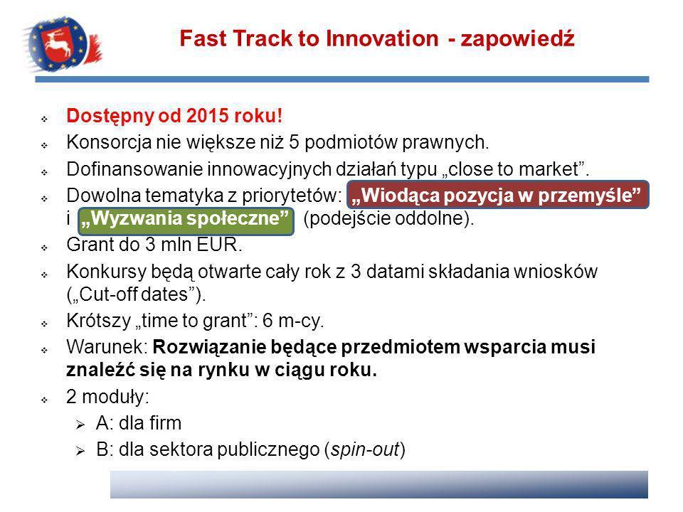Fast Track to Innovation - zapowiedź Dostępny od 2015 roku! Konsorcja nie większe niż 5 podmiotów prawnych. Dofinansowanie innowacyjnych działań typu