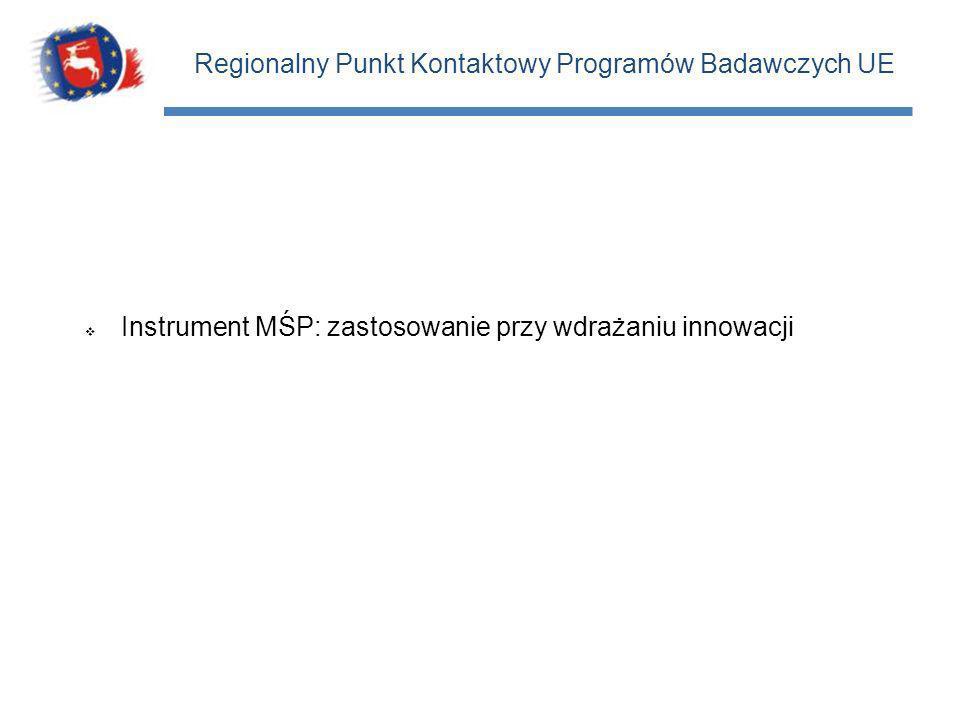 Regionalny Punkt Kontaktowy Programów Badawczych UE Instrument MŚP: zastosowanie przy wdrażaniu innowacji