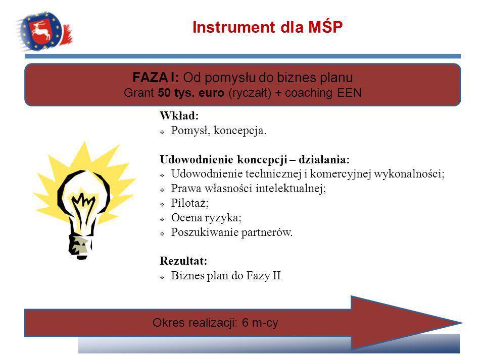 FAZA I: Od pomysłu do biznes planu Grant 50 tys. euro (ryczałt) + coaching EEN Wkład: Pomysł, koncepcja. Udowodnienie koncepcji – działania: Udowodnie
