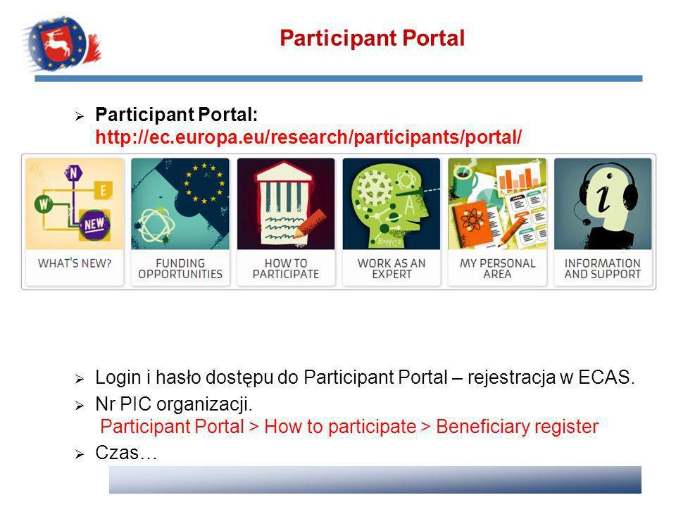 Participant Portal: http://ec.europa.eu/research/participants/portal/ Login i hasło dostępu do Participant Portal – rejestracja w ECAS. Nr PIC organiz