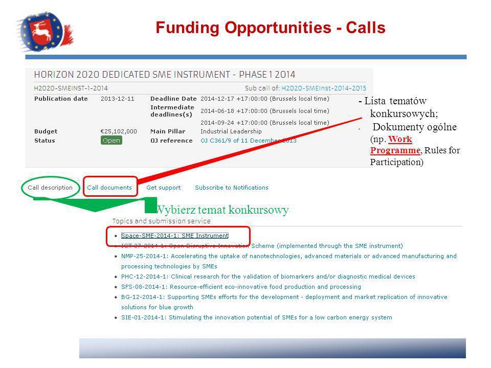 Funding Opportunities - Calls - Lista tematów konkursowych; - Dokumenty ogólne (np. Work Programme, Rules for Participation) Wybierz temat konkursowy