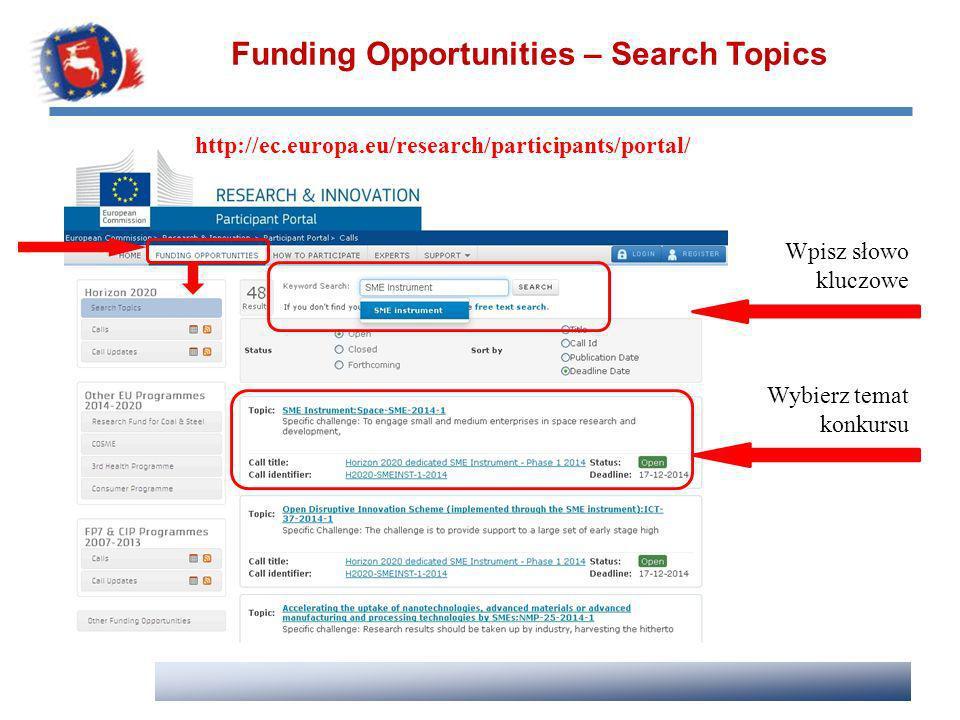 Funding Opportunities – Search Topics Wpisz słowo kluczowe Wybierz temat konkursu http://ec.europa.eu/research/participants/portal/