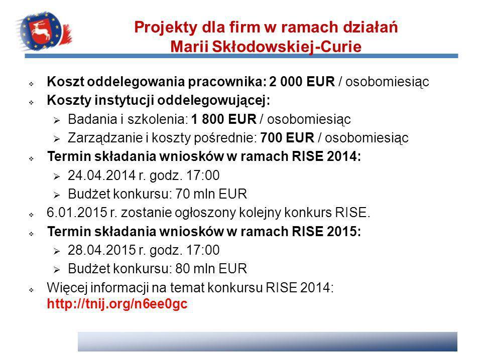 Koszt oddelegowania pracownika: 2 000 EUR / osobomiesiąc Koszty instytucji oddelegowującej: Badania i szkolenia: 1 800 EUR / osobomiesiąc Zarządzanie