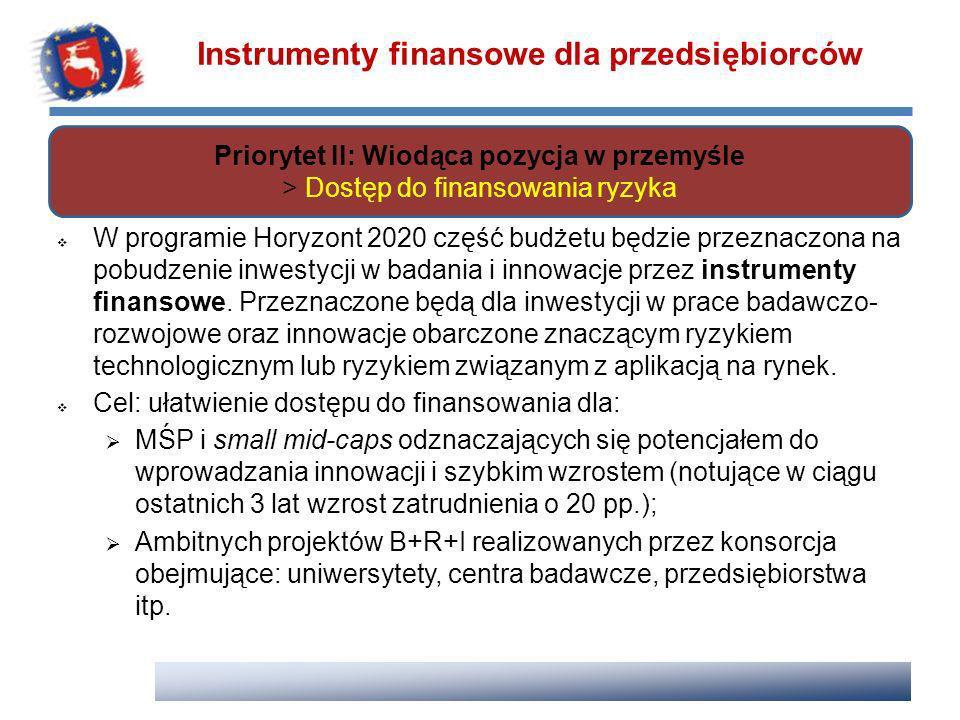 W programie Horyzont 2020 część budżetu będzie przeznaczona na pobudzenie inwestycji w badania i innowacje przez instrumenty finansowe. Przeznaczone b
