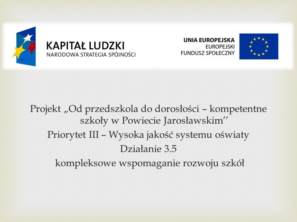 Projekt Od przedszkola do dorosłości – kompetentne szkoły w Powiecie Jarosławskim Priorytet III – Wysoka jakość systemu oświaty Działanie 3.5 kompleks
