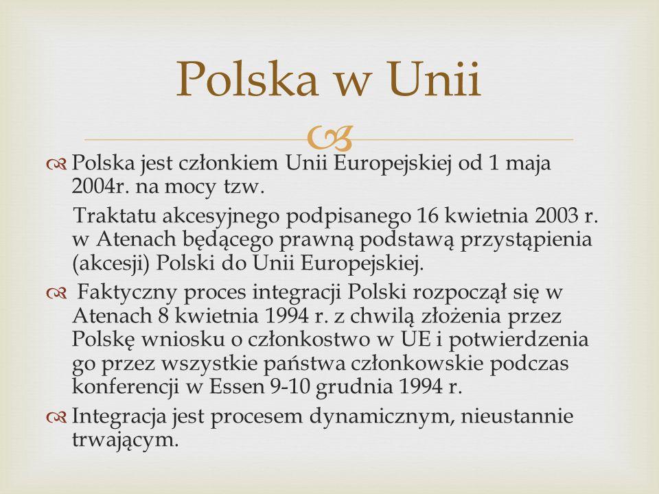 Polska jest członkiem Unii Europejskiej od 1 maja 2004r. na mocy tzw. Traktatu akcesyjnego podpisanego 16 kwietnia 2003 r. w Atenach będącego prawną p