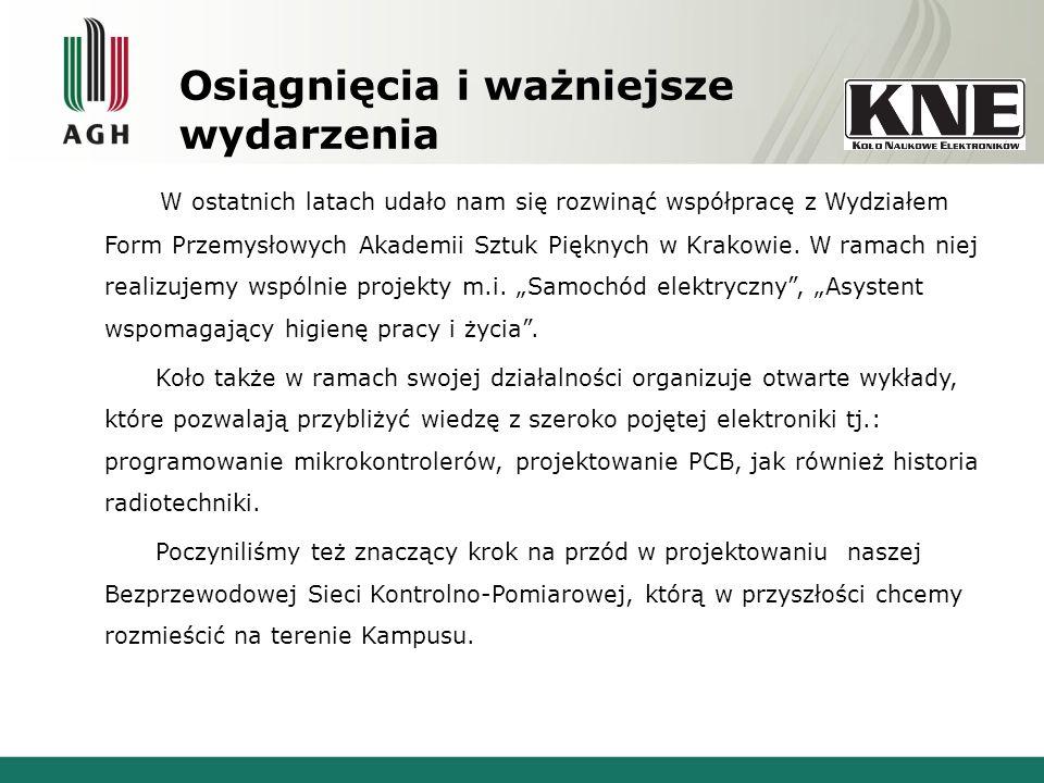 Osiągnięcia i ważniejsze wydarzenia W ostatnich latach udało nam się rozwinąć współpracę z Wydziałem Form Przemysłowych Akademii Sztuk Pięknych w Krakowie.