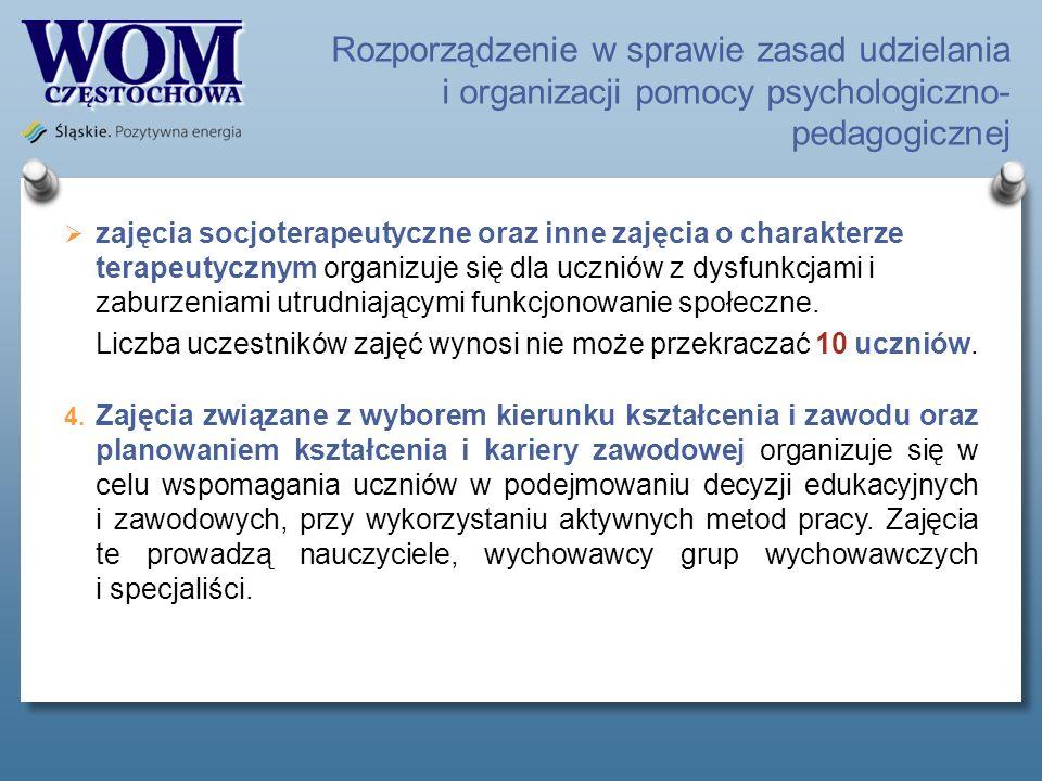 Rozporządzenie w sprawie zasad udzielania i organizacji pomocy psychologiczno- pedagogicznej zajęcia socjoterapeutyczne oraz inne zajęcia o charakterz