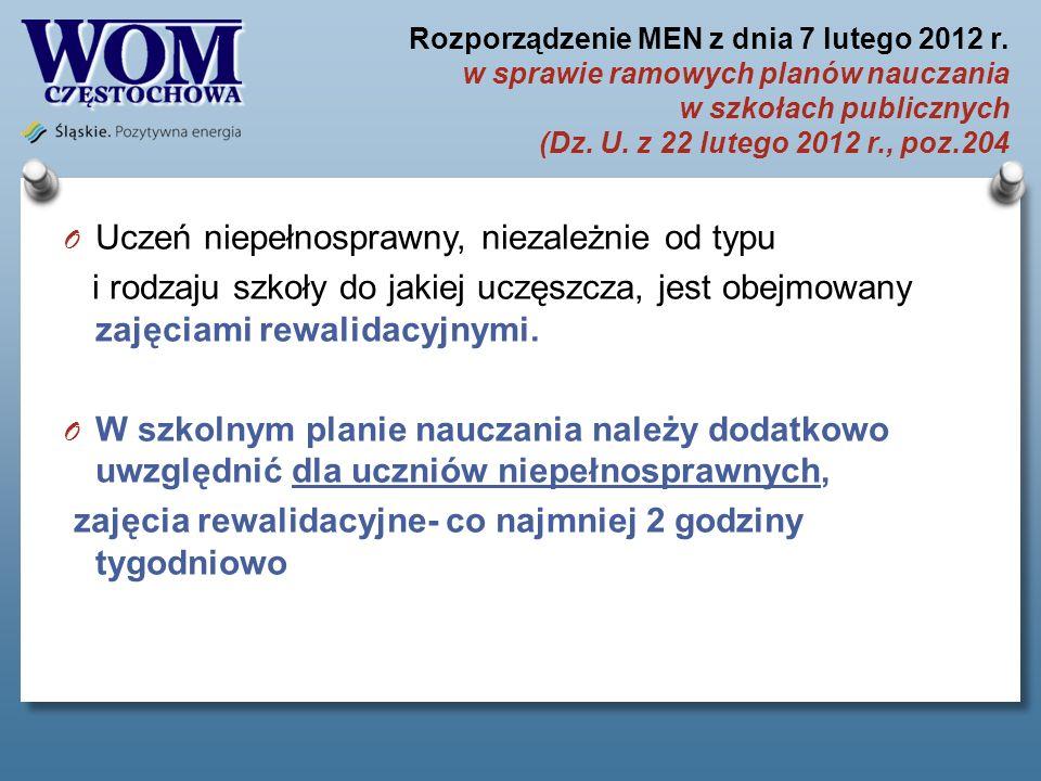 Rozporządzenie MEN z dnia 7 lutego 2012 r. w sprawie ramowych planów nauczania w szkołach publicznych (Dz. U. z 22 lutego 2012 r., poz.204 O Uczeń nie