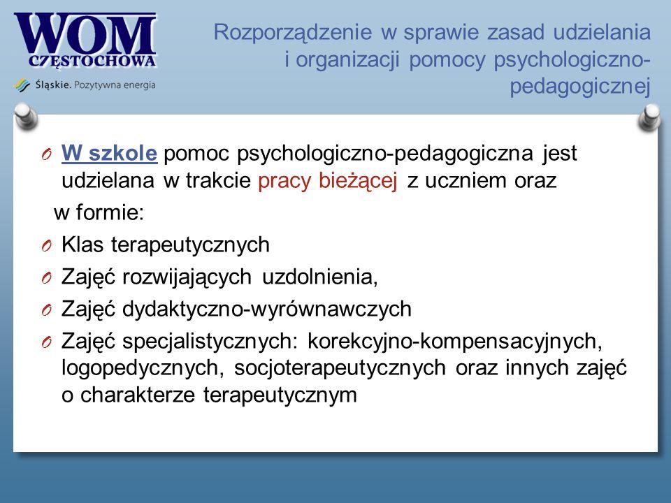 Rozporządzenie w sprawie zasad udzielania i organizacji pomocy psychologiczno- pedagogicznej O W szkole pomoc psychologiczno-pedagogiczna jest udziela
