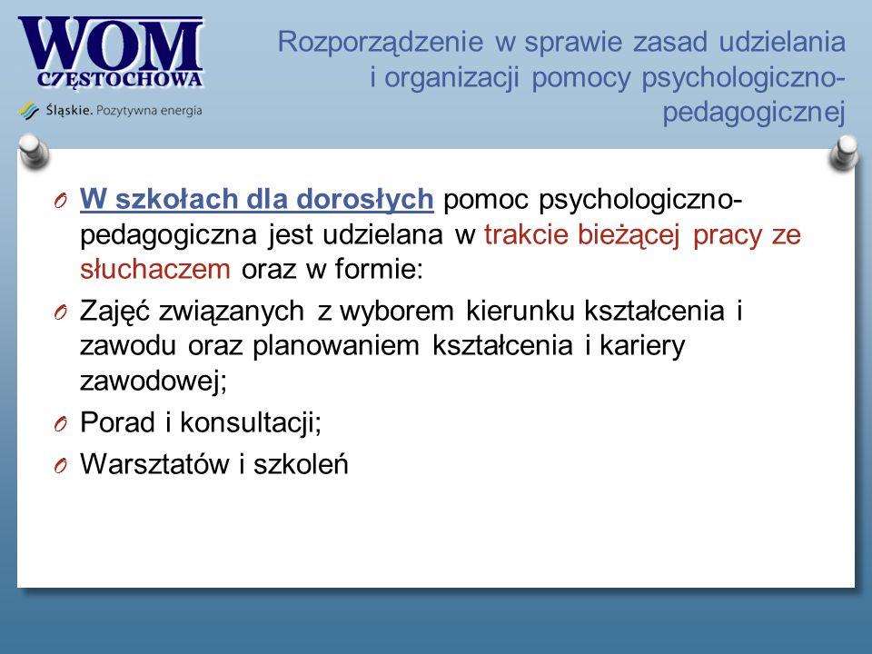 Rozporządzenie w sprawie zasad udzielania i organizacji pomocy psychologiczno- pedagogicznej O W szkołach dla dorosłych pomoc psychologiczno- pedagogi