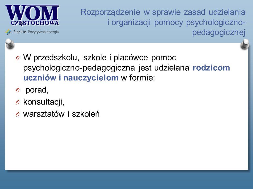 Rozporządzenie w sprawie zasad udzielania i organizacji pomocy psychologiczno- pedagogicznej O W przedszkolu, szkole i placówce pomoc psychologiczno-p