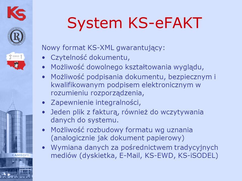 System KS-eFAKT Nowy format KS-XML gwarantujący: Czytelność dokumentu, Możliwość dowolnego kształtowania wyglądu, Możliwość podpisania dokumentu, bezpiecznym i kwalifikowanym podpisem elektronicznym w rozumieniu rozporządzenia, Zapewnienie integralności, Jeden plik z fakturą, również do wczytywania danych do systemu.