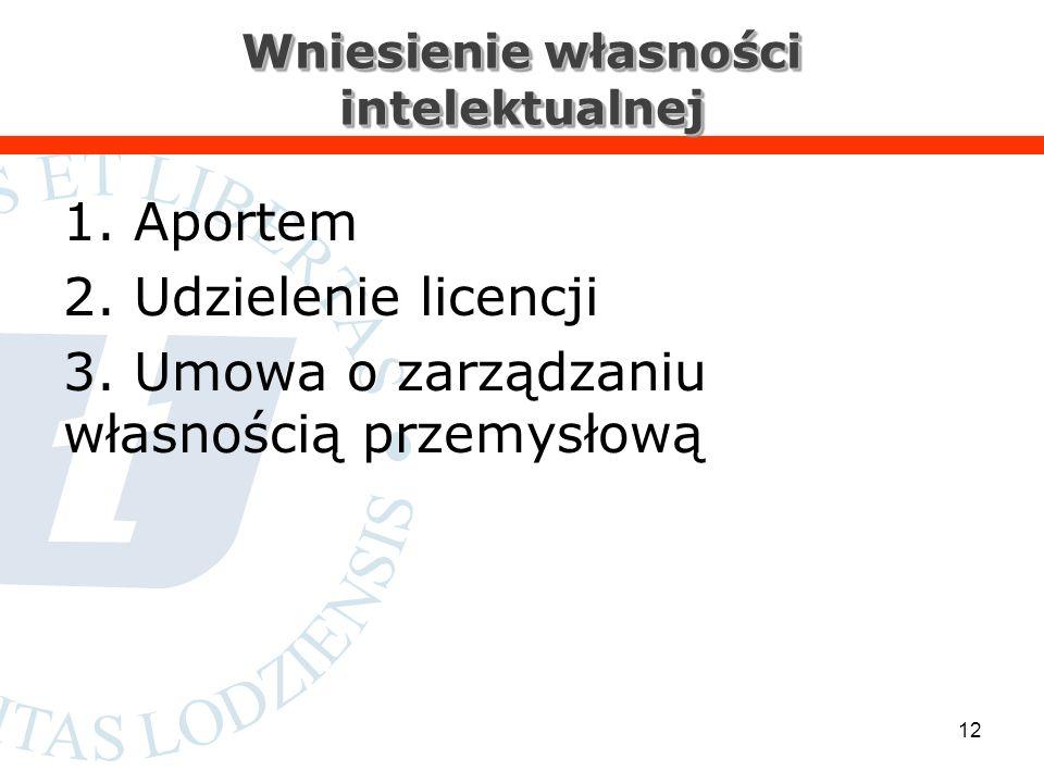 Wniesienie własności intelektualnej 1. Aportem 2.