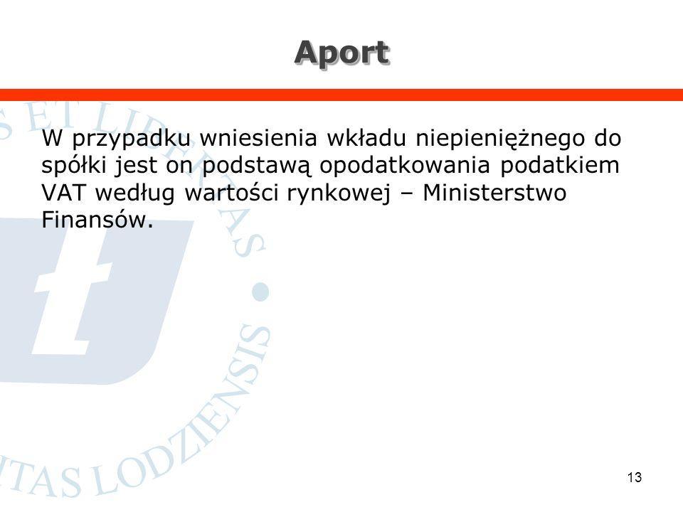 AportAport W przypadku wniesienia wkładu niepieniężnego do spółki jest on podstawą opodatkowania podatkiem VAT według wartości rynkowej – Ministerstwo Finansów.
