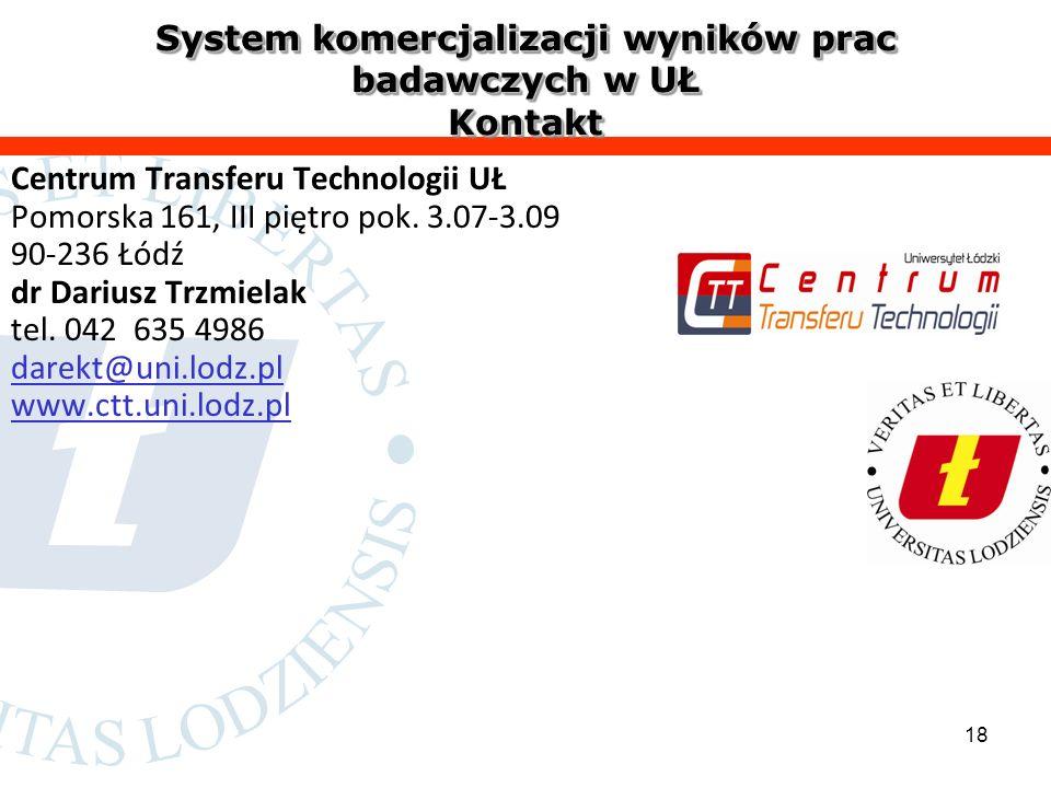 18 System komercjalizacji wyników prac badawczych w UŁ Kontakt Centrum Transferu Technologii UŁ Pomorska 161, III piętro pok.