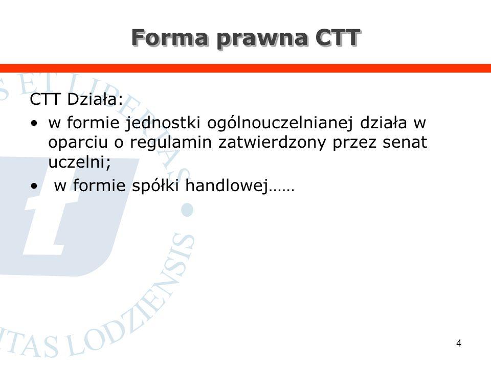 Forma prawna CTT CTT Działa: w formie jednostki ogólnouczelnianej działa w oparciu o regulamin zatwierdzony przez senat uczelni; w formie spółki handlowej…… 4