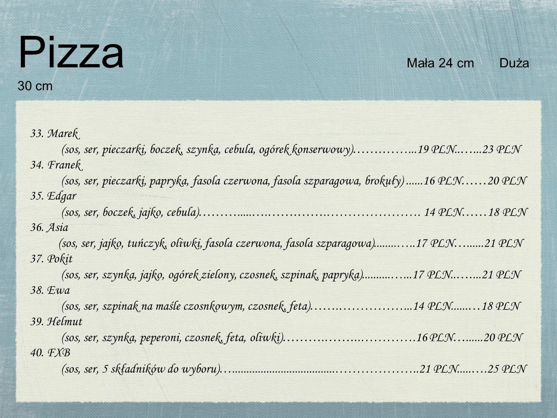 Pizza Mała 24 cm Duża 30 cm 33.