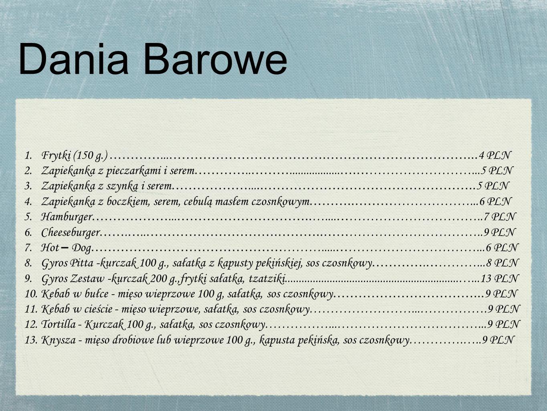 Dania Barowe 1.Frytki (150 g.) …………... ……………………………….……………………………...