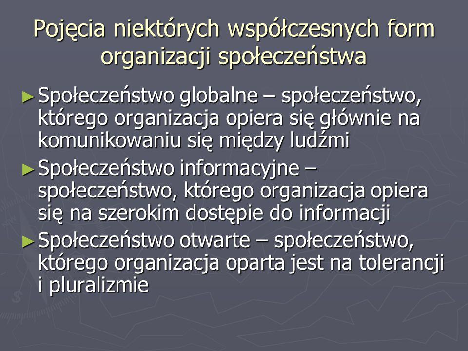 Pojęcia niektórych współczesnych form organizacji społeczeństwa Społeczeństwo globalne – społeczeństwo, którego organizacja opiera się głównie na komunikowaniu się między ludźmi Społeczeństwo globalne – społeczeństwo, którego organizacja opiera się głównie na komunikowaniu się między ludźmi Społeczeństwo informacyjne – społeczeństwo, którego organizacja opiera się na szerokim dostępie do informacji Społeczeństwo informacyjne – społeczeństwo, którego organizacja opiera się na szerokim dostępie do informacji Społeczeństwo otwarte – społeczeństwo, którego organizacja oparta jest na tolerancji i pluralizmie Społeczeństwo otwarte – społeczeństwo, którego organizacja oparta jest na tolerancji i pluralizmie