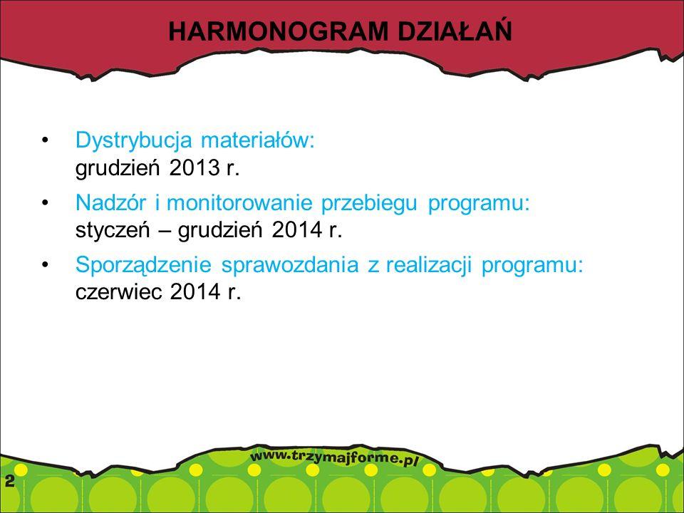 HARMONOGRAM DZIAŁAŃ Dystrybucja materiałów: grudzień 2013 r. Nadzór i monitorowanie przebiegu programu: styczeń – grudzień 2014 r. Sporządzenie sprawo