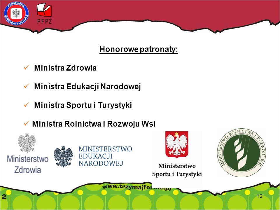 Honorowe patronaty: Ministra Zdrowia Ministra Edukacji Narodowej Ministra Sportu i Turystyki Ministra Rolnictwa i Rozwoju Wsi 12