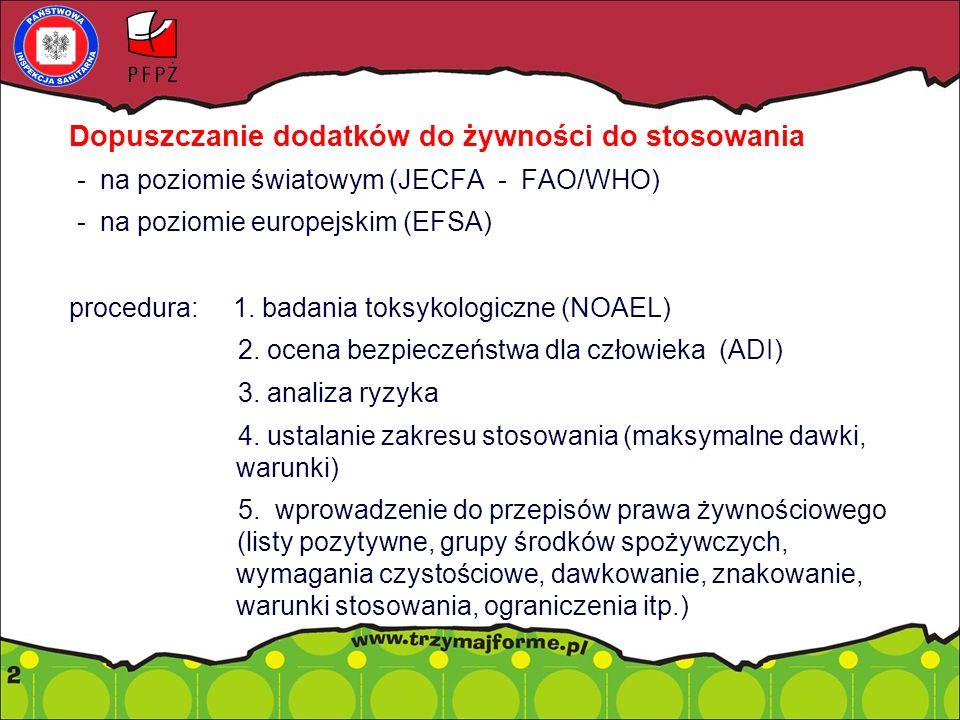 Dopuszczanie dodatków do żywności do stosowania - na poziomie światowym (JECFA - FAO/WHO) - na poziomie europejskim (EFSA) procedura: 1. badania toksy