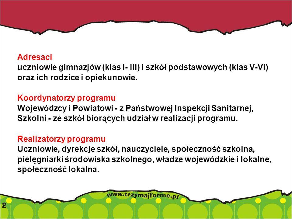 Adresaci uczniowie gimnazjów (klas I- III) i szkół podstawowych (klas V-VI) oraz ich rodzice i opiekunowie. Koordynatorzy programu Wojewódzcy i Powiat