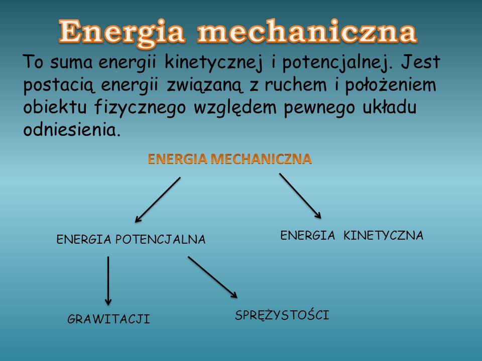 To suma energii kinetycznej i potencjalnej.