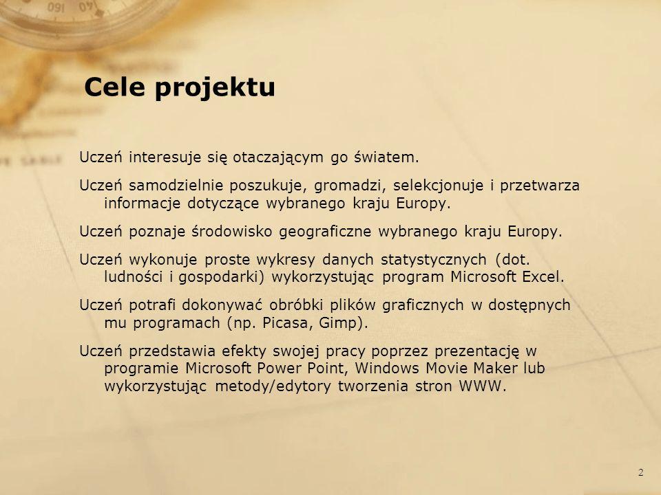 Krótki opis projektu Projekt dotyczył stworzenia Multimedialnego przewodnika po wybranych krajach Europy .