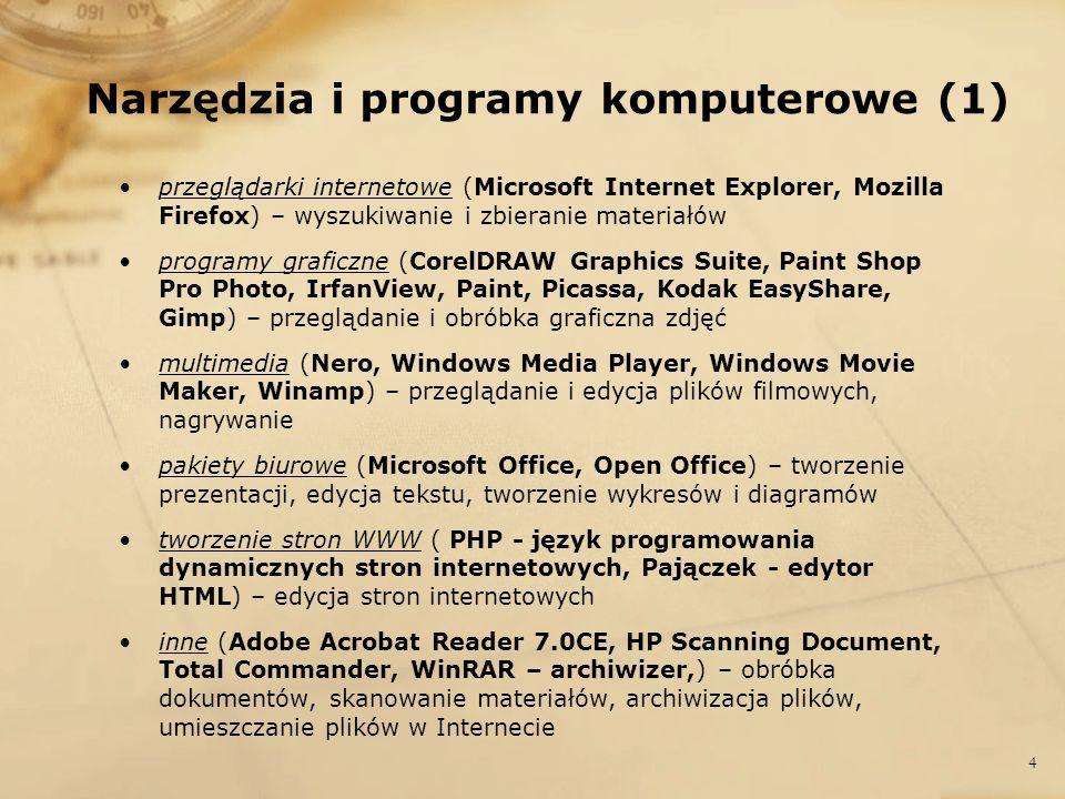 Narzędzia i programy komputerowe (1) przeglądarki internetowe (Microsoft Internet Explorer, Mozilla Firefox) – wyszukiwanie i zbieranie materiałów pro