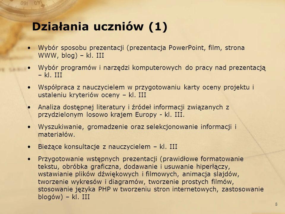 Działania uczniów (2) Ostateczna korekta prac/prezentacji – kl.