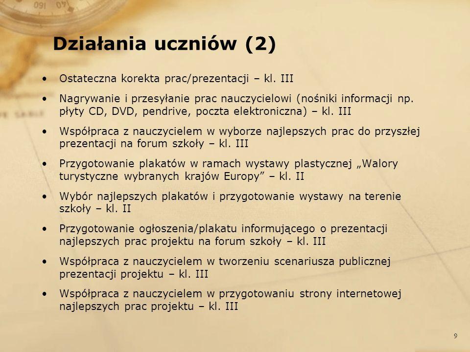 Działania uczniów (2) Ostateczna korekta prac/prezentacji – kl. III Nagrywanie i przesyłanie prac nauczycielowi (nośniki informacji np. płyty CD, DVD,