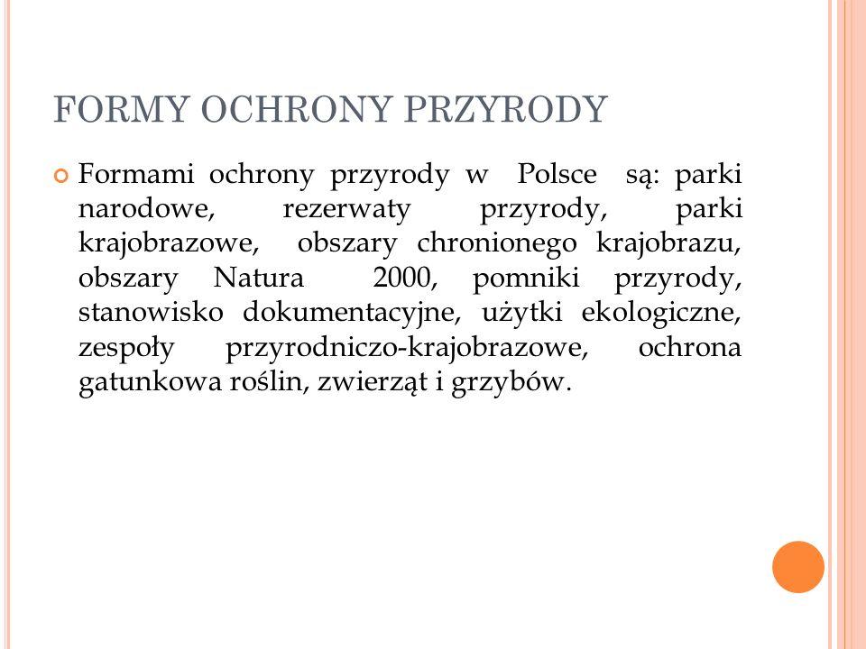 FORMY OCHRONY PRZYRODY Formami ochrony przyrody w Polsce są: parki narodowe, rezerwaty przyrody, parki krajobrazowe, obszary chronionego krajobrazu, o