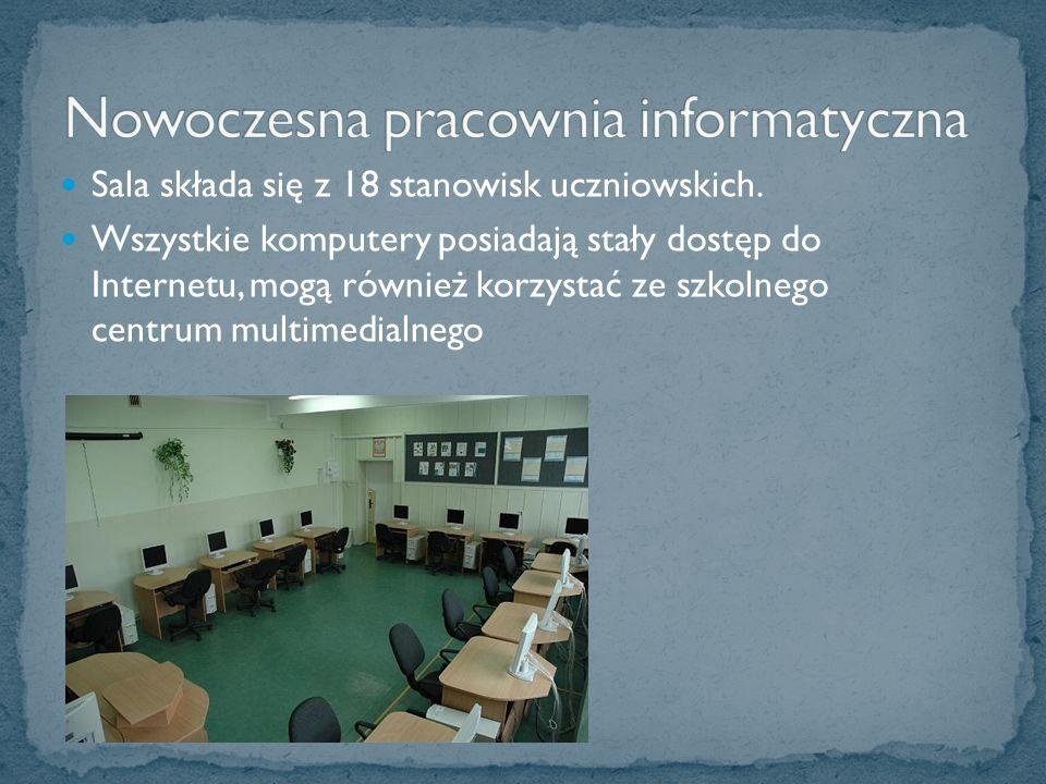 Sala składa się z 18 stanowisk uczniowskich.