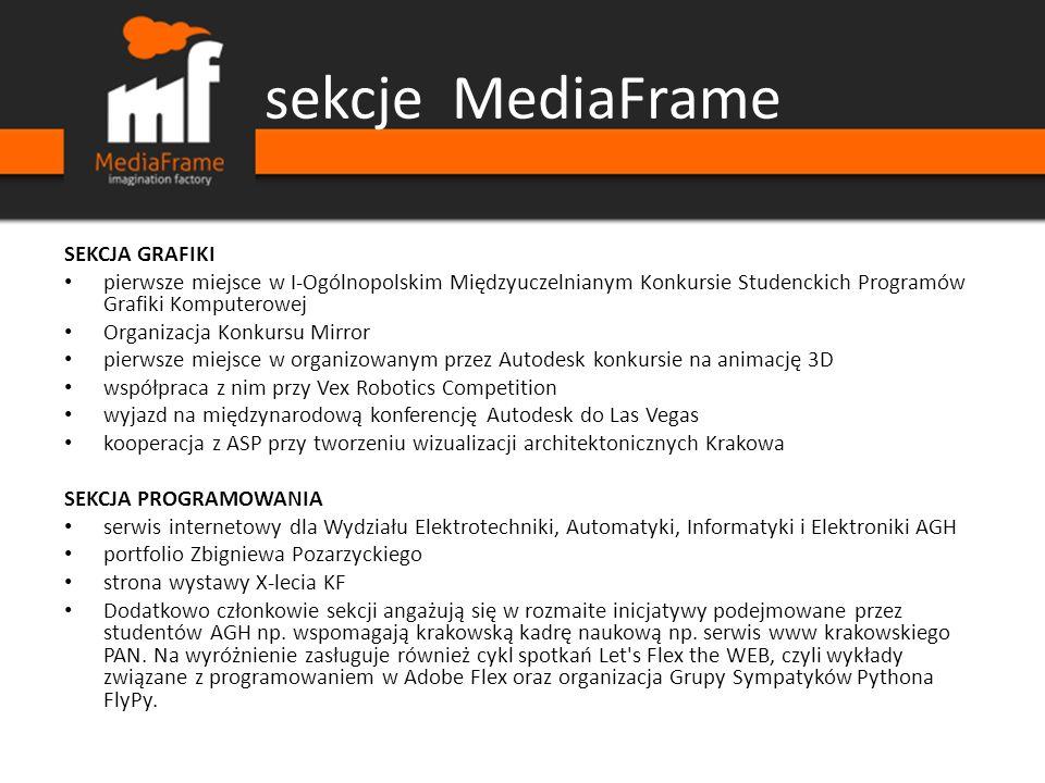 sekcje MediaFrame SEKCJA GRAFIKI pierwsze miejsce w I-Ogólnopolskim Międzyuczelnianym Konkursie Studenckich Programów Grafiki Komputerowej Organizacja
