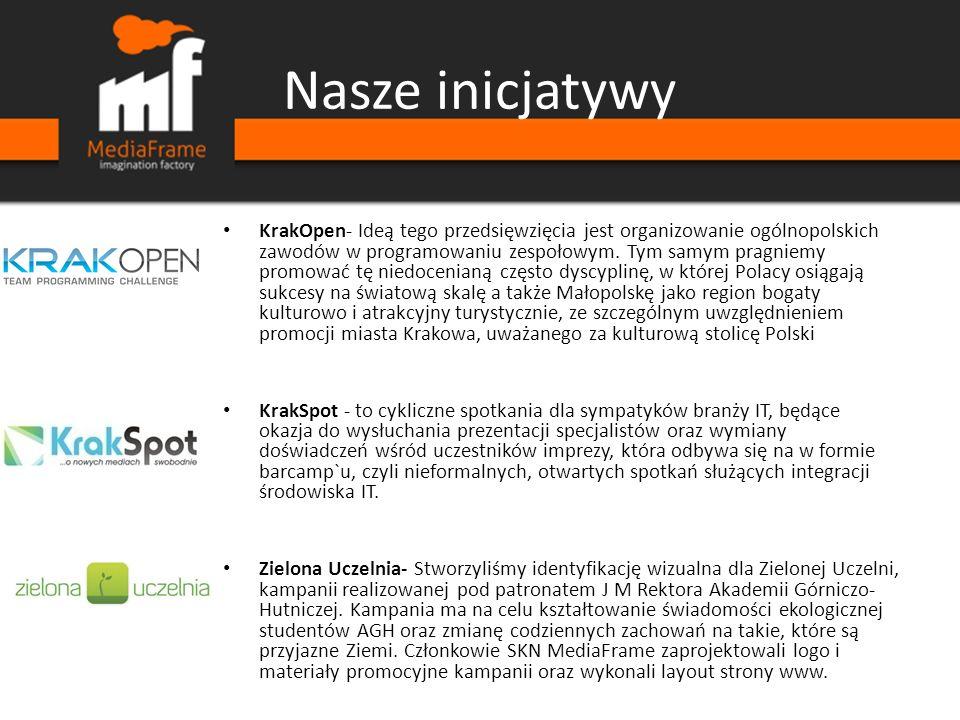 Nasze inicjatywy KrakOpen- Ideą tego przedsięwzięcia jest organizowanie ogólnopolskich zawodów w programowaniu zespołowym. Tym samym pragniemy promowa