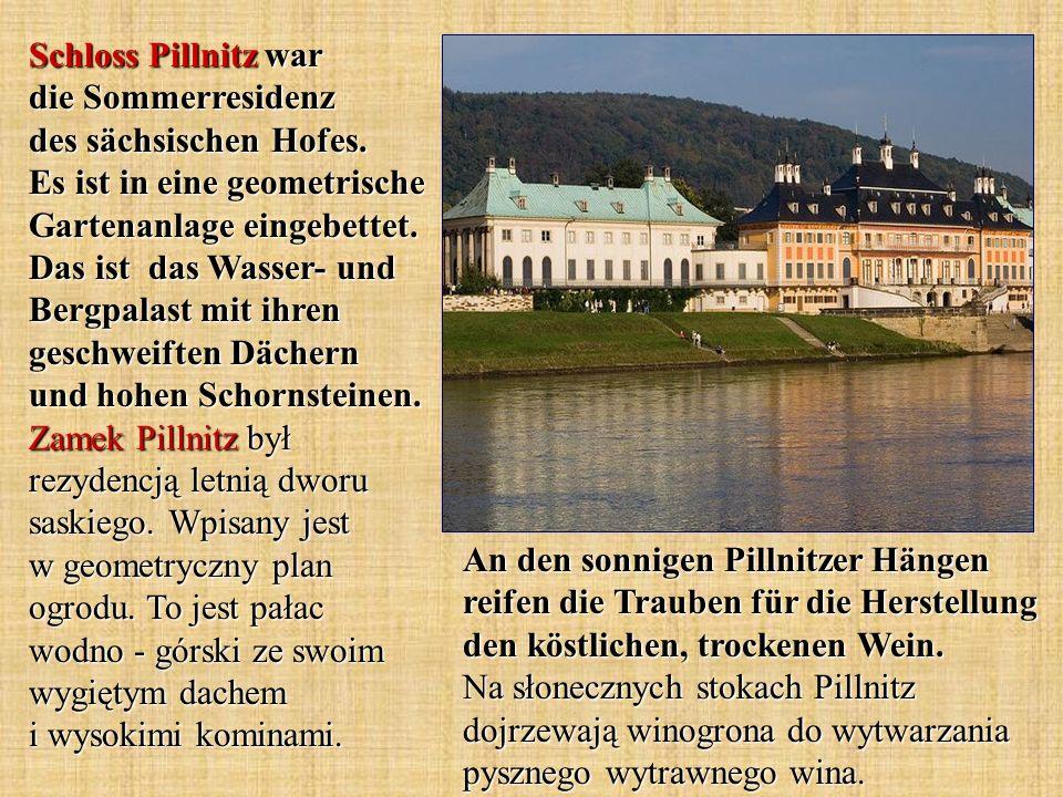 Schloss Pillnitz war die Sommerresidenz des sächsischen Hofes. Es ist in eine geometrische Gartenanlage eingebettet. Das ist das Wasser- und Bergpalas