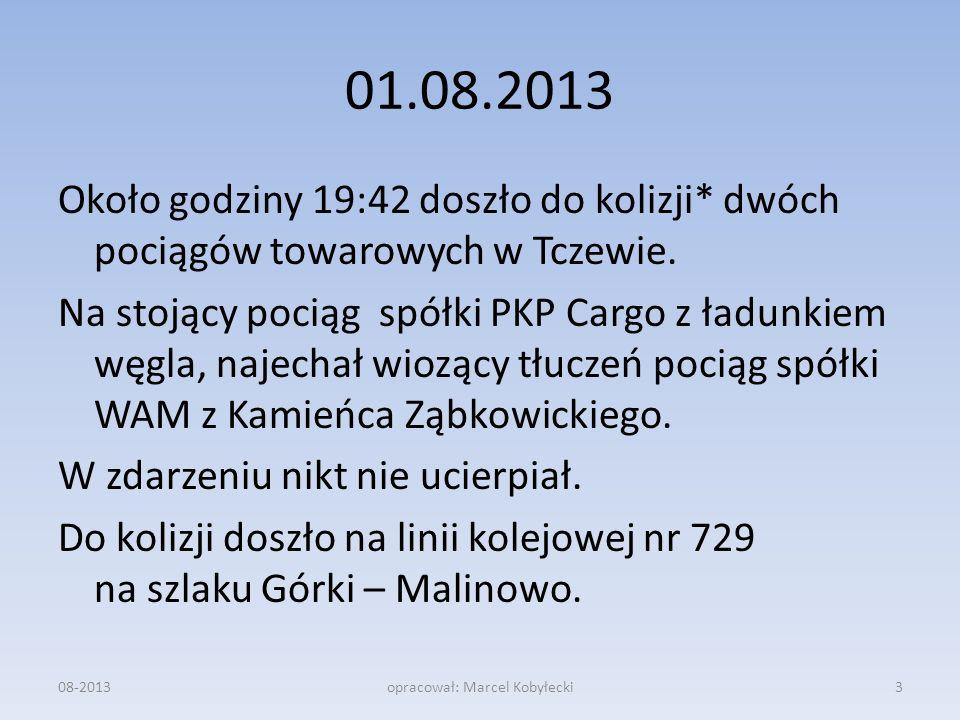 01.08.2013 Około godziny 19:42 doszło do kolizji* dwóch pociągów towarowych w Tczewie. Na stojący pociąg spółki PKP Cargo z ładunkiem węgla, najechał