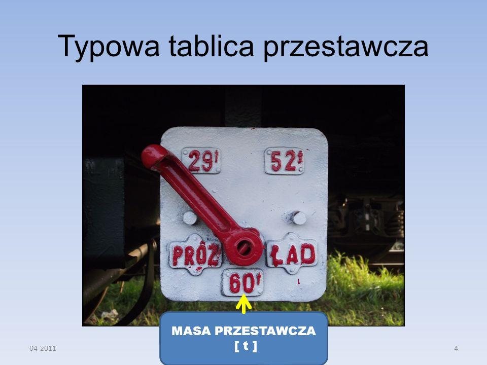 Typowa tablica przestawcza MASA PRZESTAWCZA [ t ] 04-20114