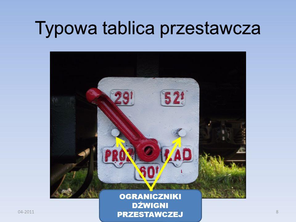 Typowa tablica przestawcza OGRANICZNIKI DŹWIGNI PRZESTAWCZEJ 04-20118