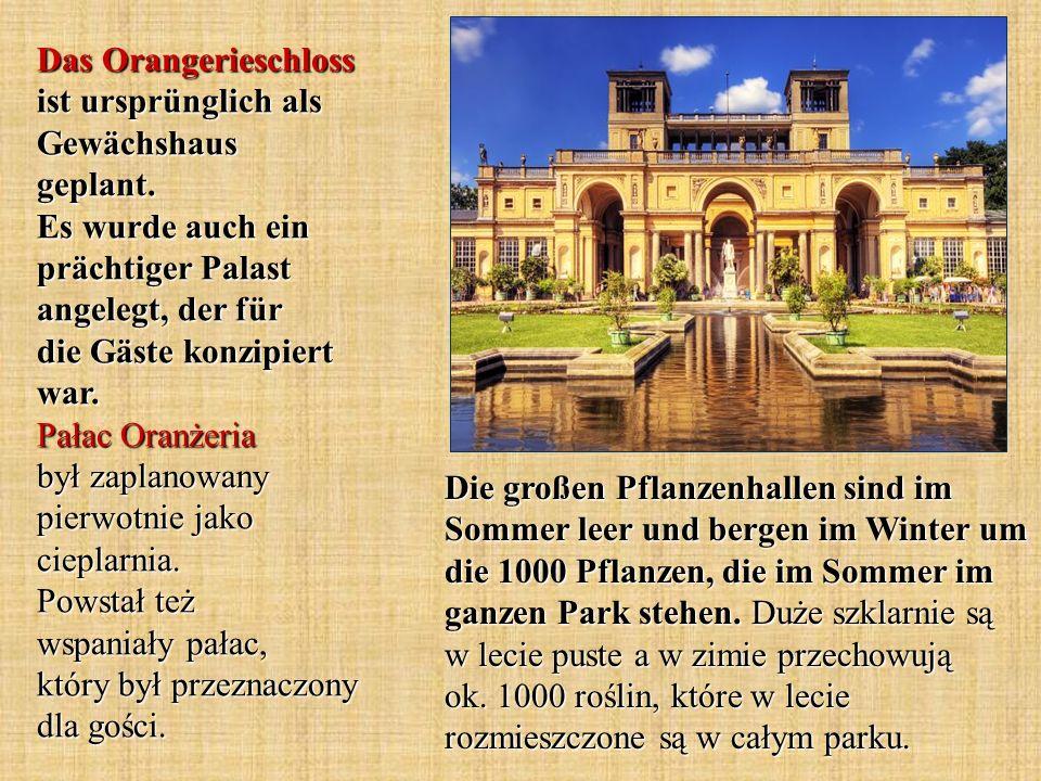 Die großen Pflanzenhallen sind im Sommer leer und bergen im Winter um die 1000 Pflanzen, die im Sommer im ganzen Park stehen.