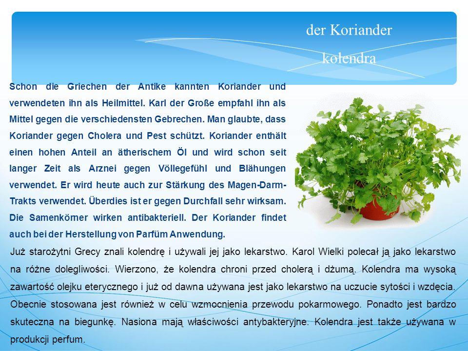 der Koriander kolendra Schon die Griechen der Antike kannten Koriander und verwendeten ihn als Heilmittel.