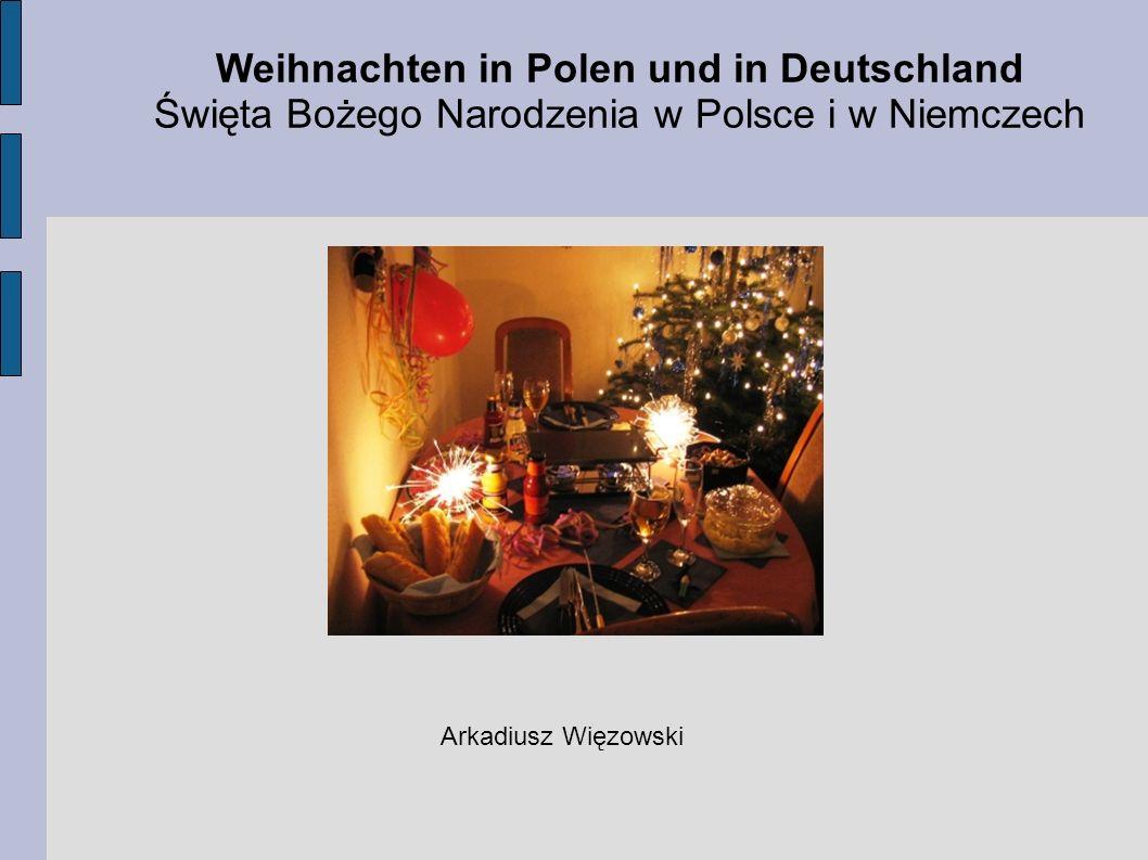 Dzisiejsza lekcja ma na celu zapoznać nas: - ze słownictwem związanym ze Świętami Bożego Narodzenia, - z obyczajami obchodzenia Świąt Bożego Narodzenia w Niemczech, - oraz z obyczajami obchodzenia Świąt Bożego Narodzenia w Polsce.