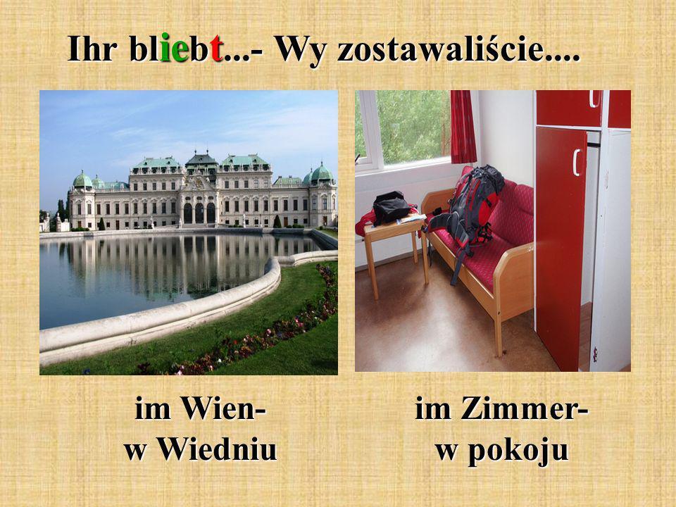Ihr bl ie b t...- Wy zostawaliście.... im Wien- w Wiedniu im Zimmer- w pokoju